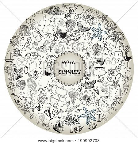 summer symbols and objects drawing by hand vector. line art set of summer doodle objects and symbols in round frame