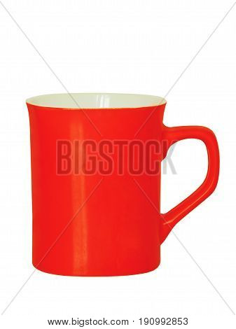 Red ceramic tea cup isolated on white background.