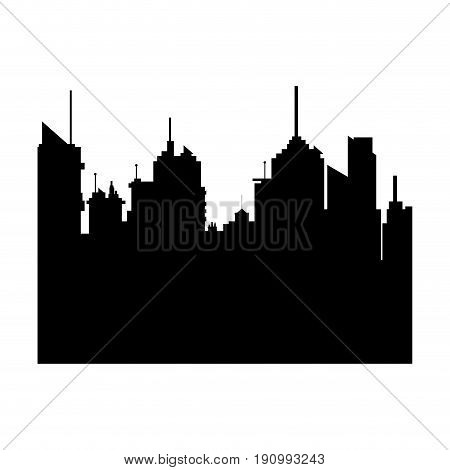 silhouette city buildings skyline downtown vector illustration
