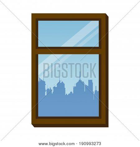 window frame city urban buiding view vector illustration