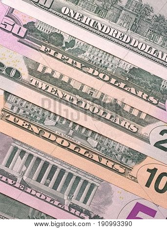 American Dollar Bills Of Different Denominations Abstract Background.