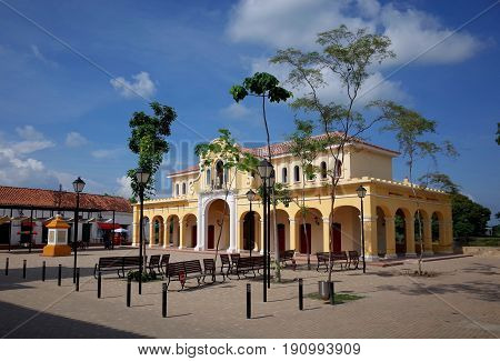 The central plaza in the sleepy town of Mompox, Colombia