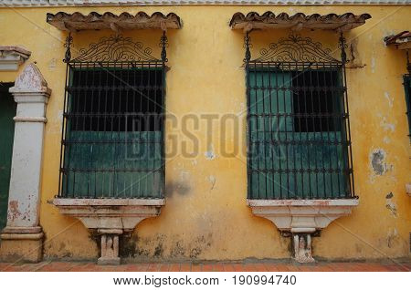 Old windows in the sleepy town of Mompox, Colombia
