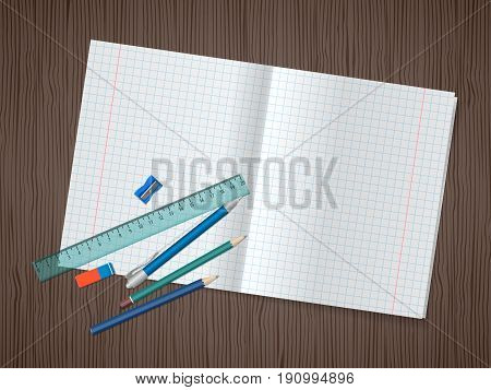 School supplies, open exercise book, pencils, pen, ruler, eraser on wooden background with place for text. Back to school. Education and school concept. Vector illustration