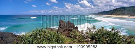 A panoramic view of Double Island Point on Noosa's North Shore in Queensland Australia