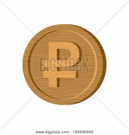 Wooden Russian Ruble Coin Sign. National Russia Money Logo. Cash Symbol