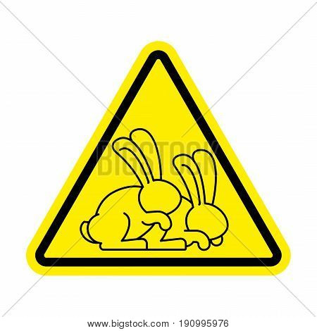 Attention Rabbit Sex. Caution Bunny Hare Intercourse. Yellow Triangle Road Sign