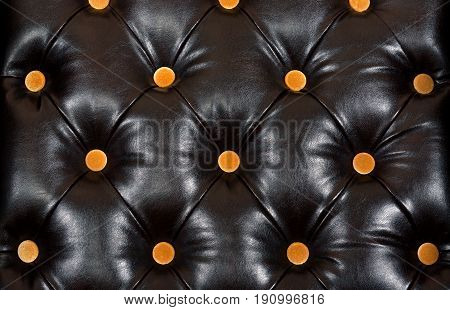 English black genuine leather upholstery, chesterfield style background