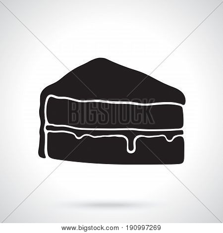 Vector illustration. Silhouette of a piece of cake with glaze cream fondant and confiture. Decoration for menus, signboards, showcases, greeting cards, wallpapers