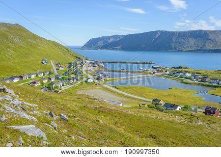 Picturesque fishing village Skarsvag on Mageroya in Finnmark, Norway
