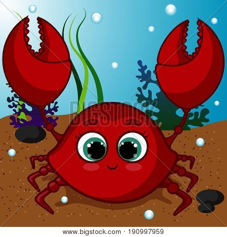 Red Sweet Crab Character, Underwater World, Smiling Crab, Cartoon Hand Drawn Vector Illustration EPS 10