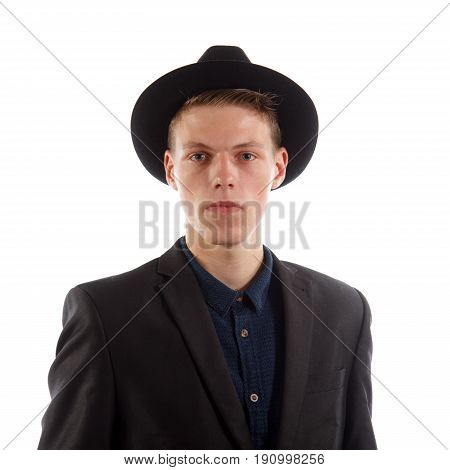 A man in a suit with a fedora on white background