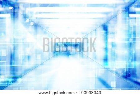 abstract defocused blurred technology space background empty business corridor or shopping mall. Medical and hospital corridor defocused background with modern laboratory (clinic)