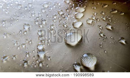 Close up of waterdrops on a raincoat