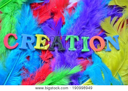 WORD CREATION ON A  ABSTRACT COLORFUL BACKGROUND