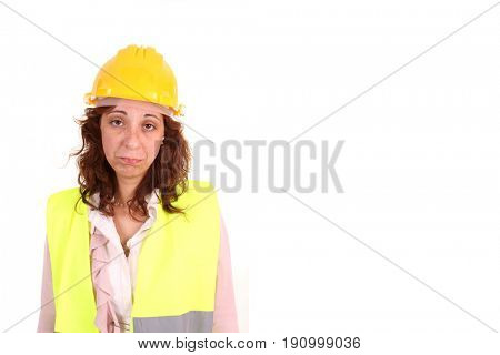 beautiful woman architect worried about the finance