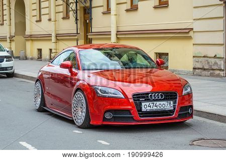 Modern Red Audi Car. Russia, Saint-petersburg, June 2017.