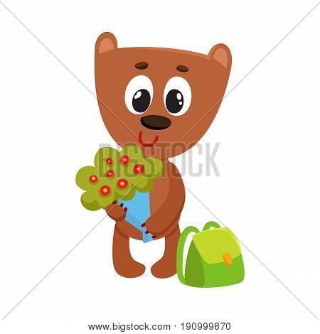Cute teddy bear student character with backpack holding bunch of flowers, back to school concept, cartoon vector illustration isolated on white background. Little bear student with bunch of flowers