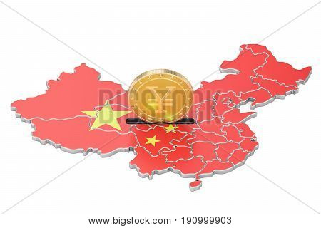 Investments in the China business concept. 3D rendering