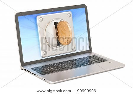 Laptop with coin acceptor payment concept. 3D rendering