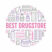 Medical, drugstore poster template. Vector medicament line icons, illustration of dosage forms - tablet, capsules, pills. Medicines antibiotics, vitamins. Healthcare banner with text online pharmacy. poster