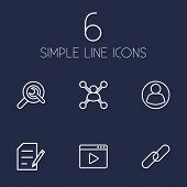 Set Of 6 Search Outline Icons Set.Collection Of Guest, Blogging, Url And Other Elements. poster