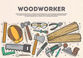 Woodworker top view banner in line art style vector illustration. Carpentry professional services, forest product, wood industry. Woodworking tools, plane, hammer, saw, ax, ruler, pliers, chisel. poster