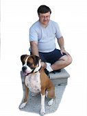man and dog on front steps poster