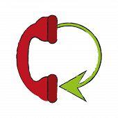 telephone circule draw illustration icon vector desgin graphic poster