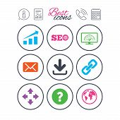 Information, report and calendar signs. Internet, seo icons. Bandwidth speed, download arrow and mail signs. Hyperlink, monitoring symbols. Phone call symbol. Classic simple flat web icons. Vector poster