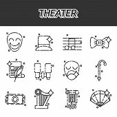 Theater icons set, drama, comedy, curtain and mask, tragedy Vector illustration poster