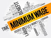 Minimum Wage word cloud collage business concept background poster