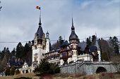 Peles Castle in winter, Sinaia, Transylvania, Romania poster