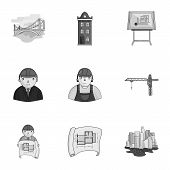 A set of icons on the theme of construction and architects. Builders, architects, and subjects for construction . Architect icon in set collection on monochrome style vector symbol stock web illustration. poster