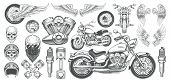 Set of vector illustrations, icons of hand-drawn vintage motorcycle in various angles, skulls, wings in the style of engraving. Classic chopper in ink style. Print, engraving, template, design element poster