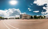 Gomel, Belarus. Building Of Gomel Regional Drama Theatre On Lenin Square. Panorama In Sunny Summer Day. poster