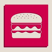 Burger simple sign. Vector. Grayscale version of Popart-style icon. poster
