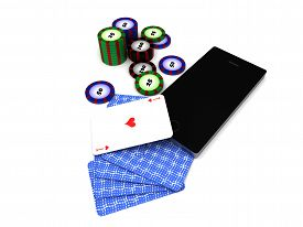 Online mobile casino. Smartphone, cards and chips isolated on white background. High quality 3d render.