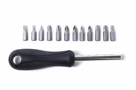 Interchangeable Screwdriver With A Set Of Heads