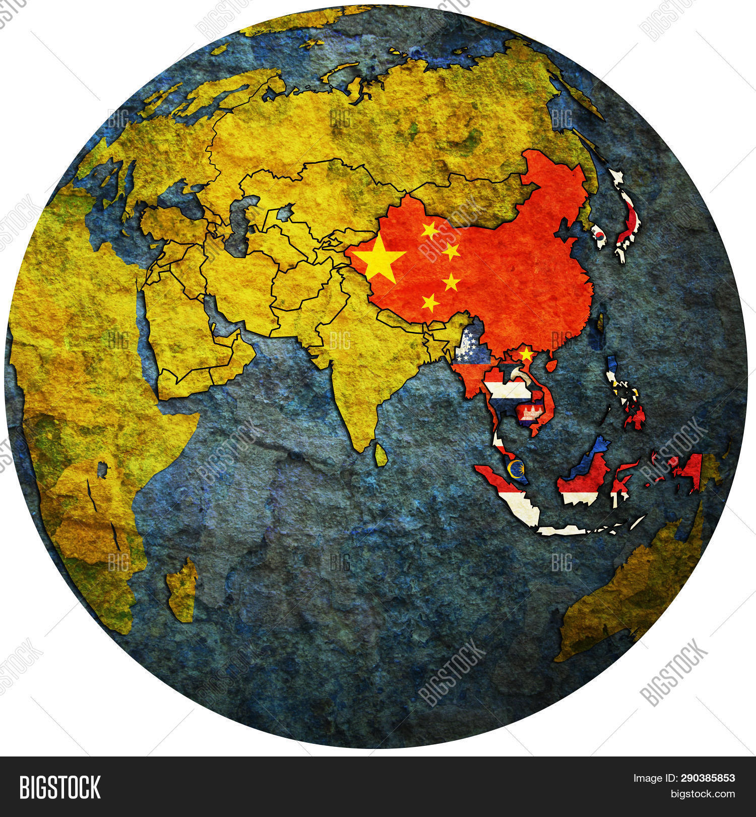 Apt On Globe Map Asia Image & Photo (Free Trial) | Bigstock