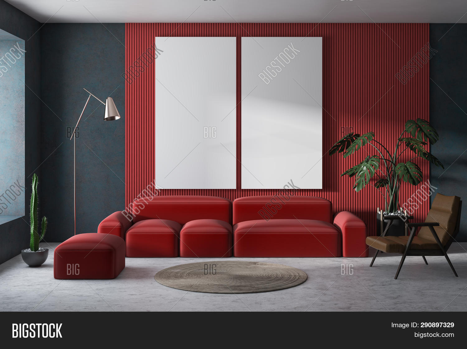 Red Gray Living Room Image Photo Free Trial Stock