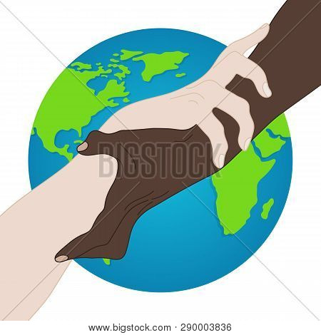 World Racial Equality. Unity, Alliance, Team, Partner Concept. Holding Hands Showing Unity. Relationship Icon. Vector illustration for Your Design, Website poster