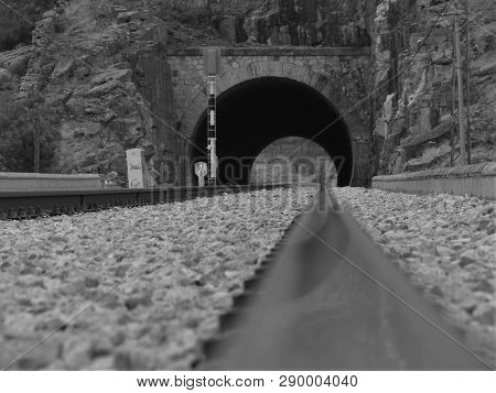 Artistic Photo Of Rail, Close Up, Railway Fragment Photo, Abstract Photo Of Railway In Black And Whi