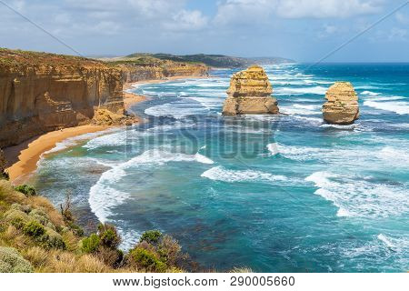 The Rock Stacks That Comprise The Twelve Apostles In Port Campbell National Park. Great Ocean Road,