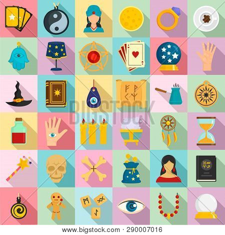 Magic Fortune Teller Icons Set. Flat Set Of Magic Fortune Teller Vector Icons For Web Design