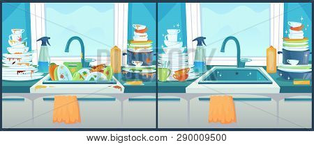 Washing Dishes In Sink. Dirty Dish In Kitchen, Clean Plates And Messy Dinnerware Cartoon Vector Illu