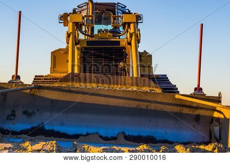 Front View Of A Bulldozer With Scoop, Heavy Machinery, Ground Moving Equipment, Groundwork Industry