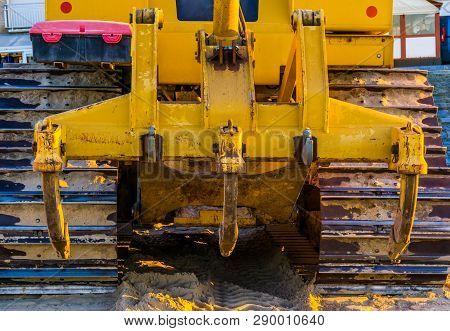 Plow Behind A Bulldozer, Heavy Groundwork Machinery, Ground Moving Equipment