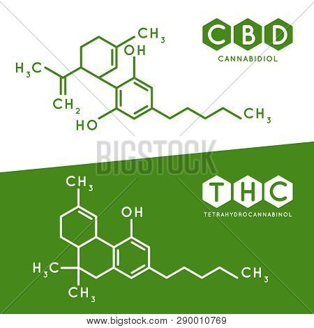Thc And Cbd Formula. Cannabidiol And Tetrahydrocannabinol Molecule Structure Compound. Medical Marij