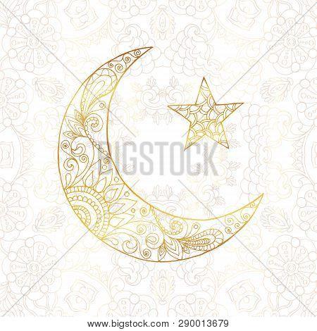 Ramadan Kareem Greeting Design Illustration. Golden Ornamental Halfmoon With Star On The White Gold